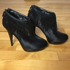 BCBGMAXAZRIA Booties with beaded fringe - size 6.5